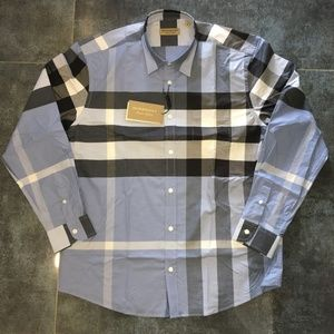 BURBERRY MEN`S BLUE SHIRT NWT CASUAL LARGE